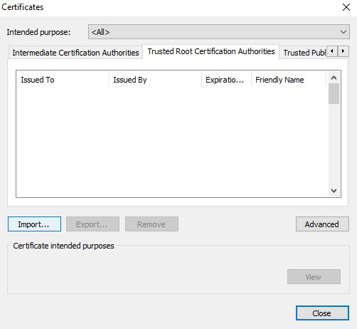 Chrome import certificate