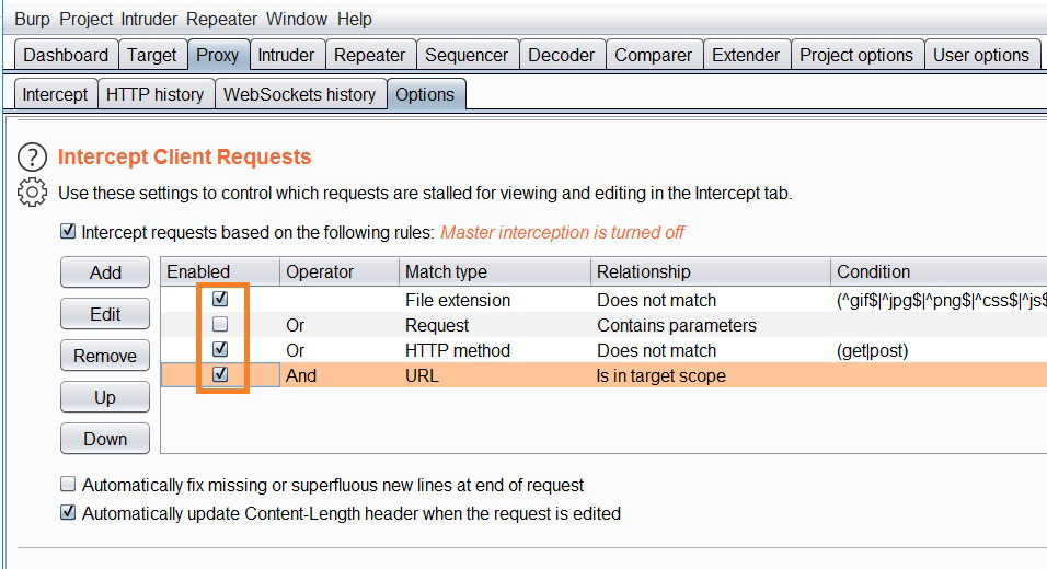 Intercept client request options