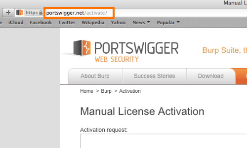 Open the license activation URL in your browser