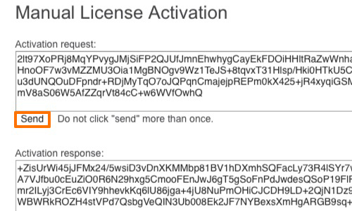 Send the license activation request