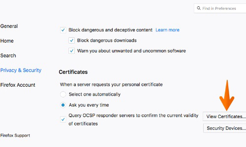 Firefox view certificates