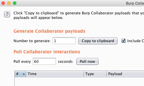 Copy Burp Collaborator payload to clipboard
