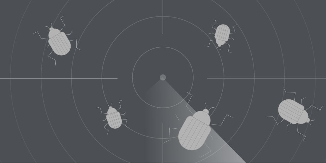Bug bounty radar on grey background
