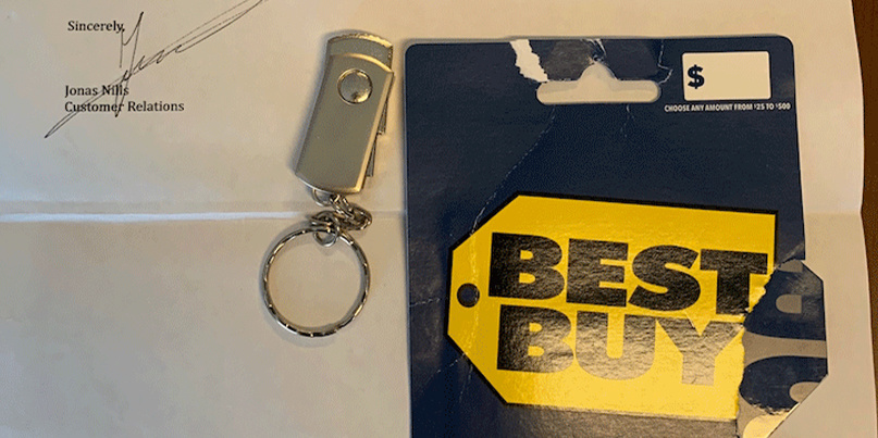 Best Buy scam letter and USB drive