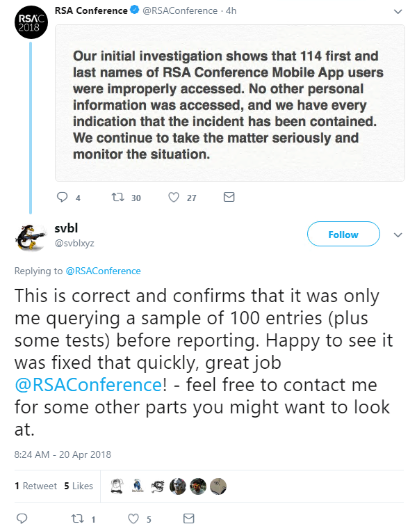 If you attended RSA and see your first name there – sorry