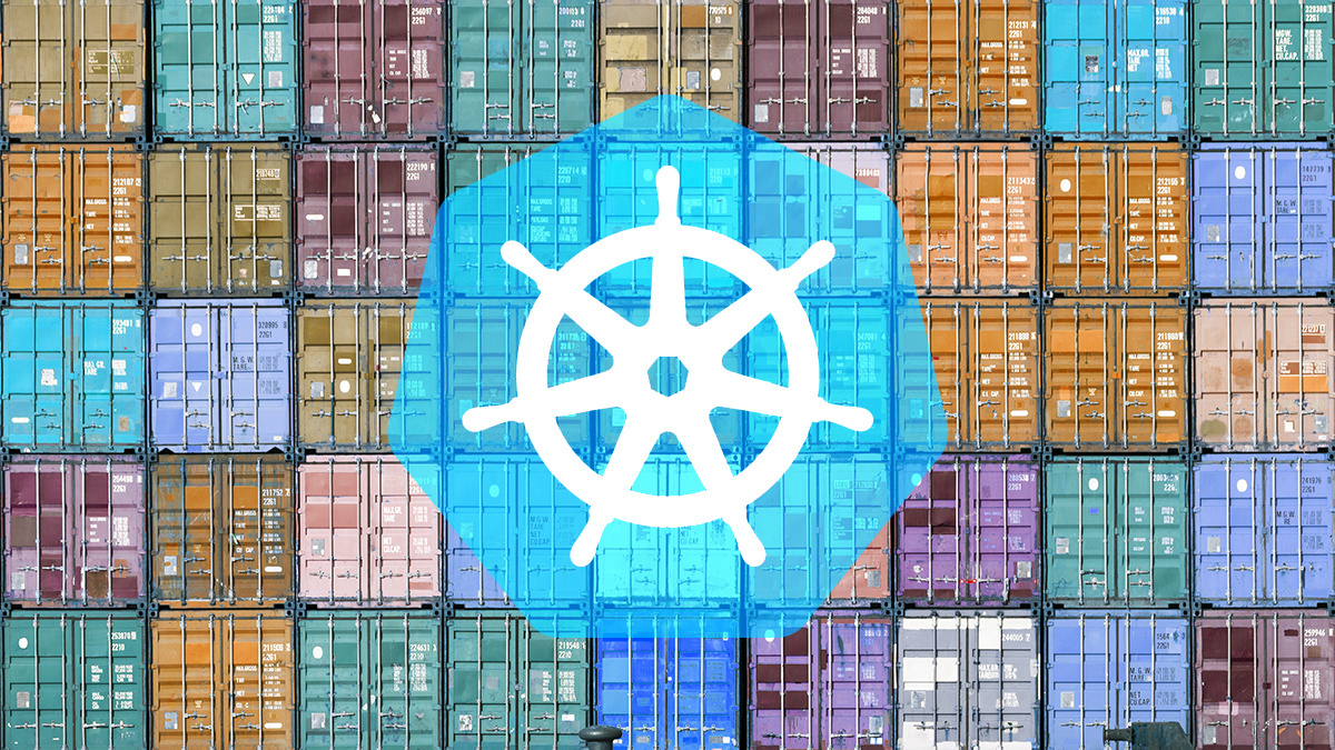 Shipping containers overlaid with Kubernetes logo