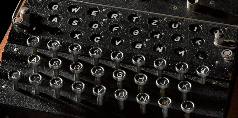 An Enigma machine part of the GCHQ exhibit Top Secret: From Ciphers to Cyber Security at the Science Museum