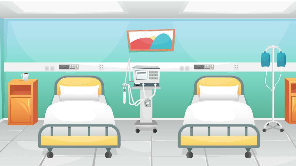 Hospital beds with ventilator