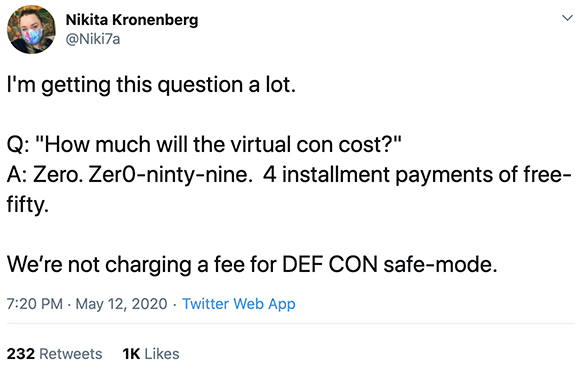 DEF CON 2020 will be free to attend