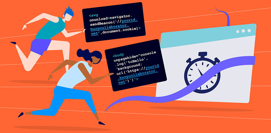 An illustration show people moving fast with code