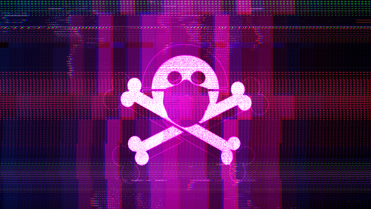 Skull crossbones purple background