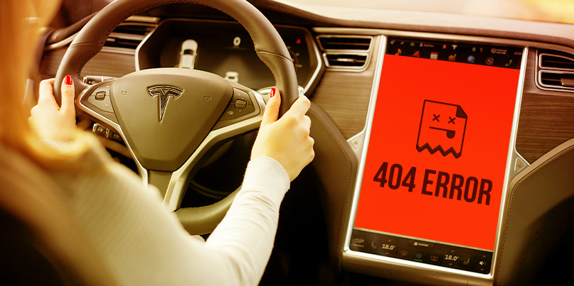Web-based attack crashes Tesla driver interface