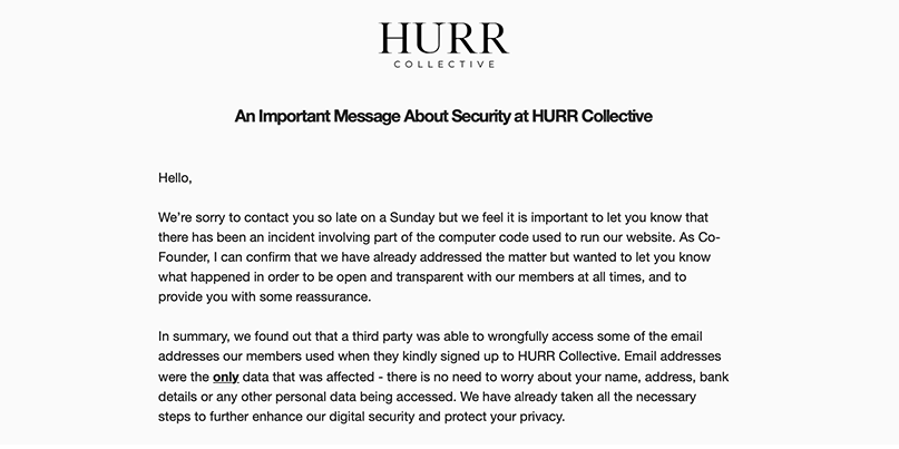 HURR Collective security alert following data exposure incident