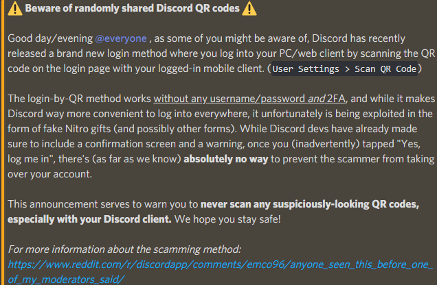 Discussion of the QR code login exploit has taken place on various Discord server