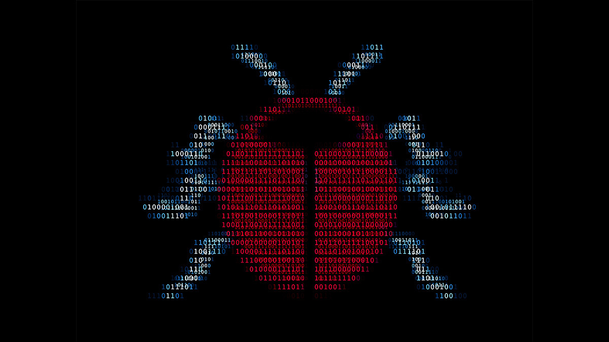 Bug bounty - red bug in binary code against black background