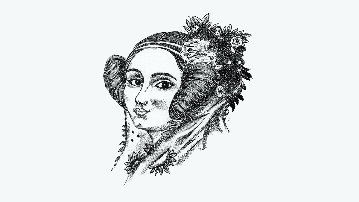 Ada Lovelace, as sketched here, is considered the pioneer of computing programming
