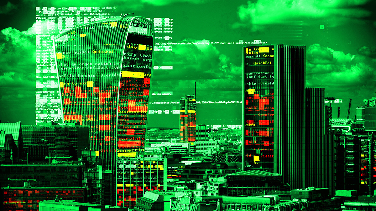Green London city skyline with data and computer programming information mapped onto building facades