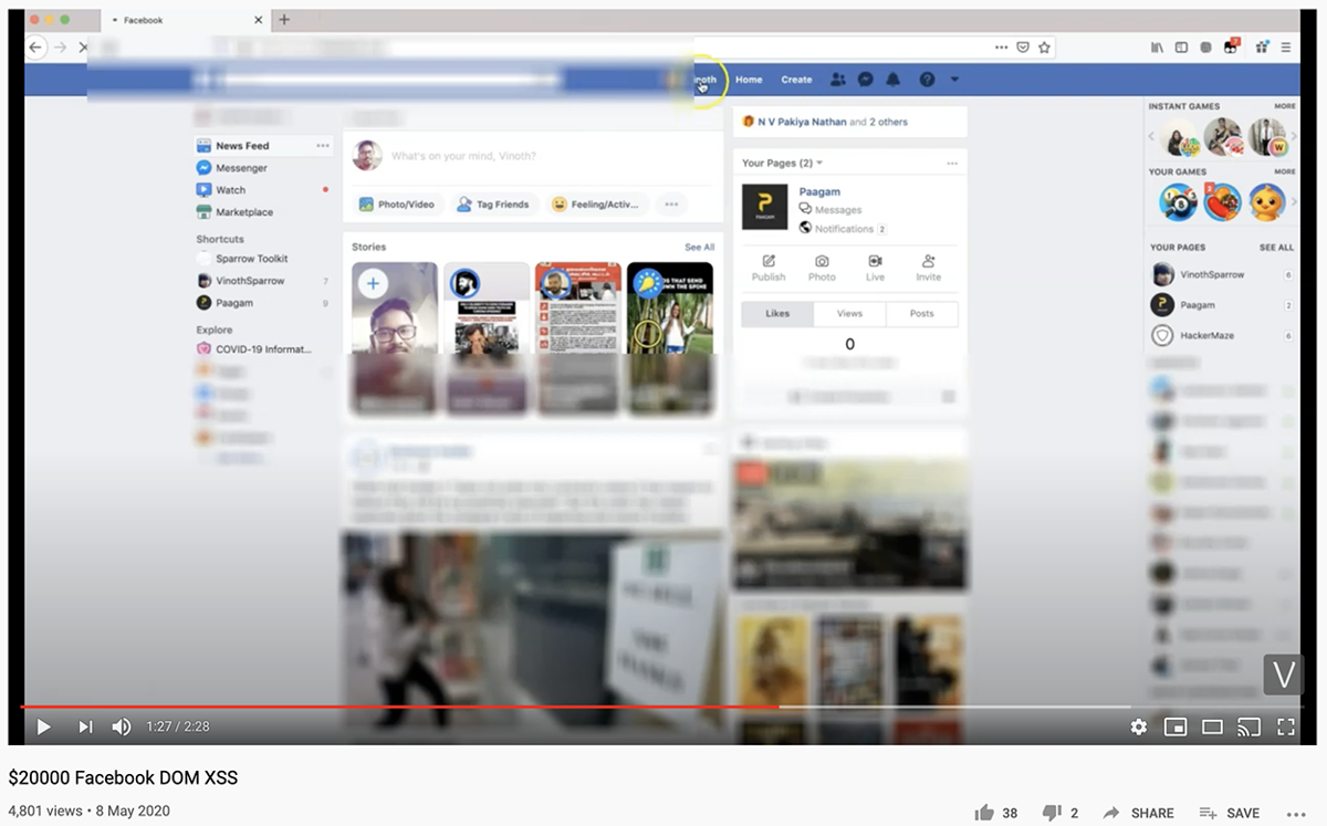 Facebook XSS vulnerability proof-of-concept