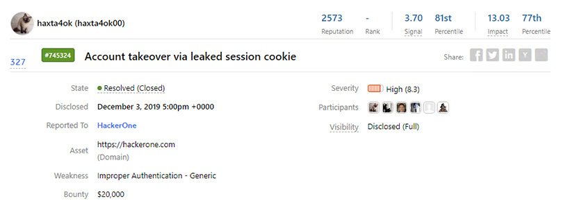 HackerOne paid out a $20,000 bounty after leaking a session cookie to hacker