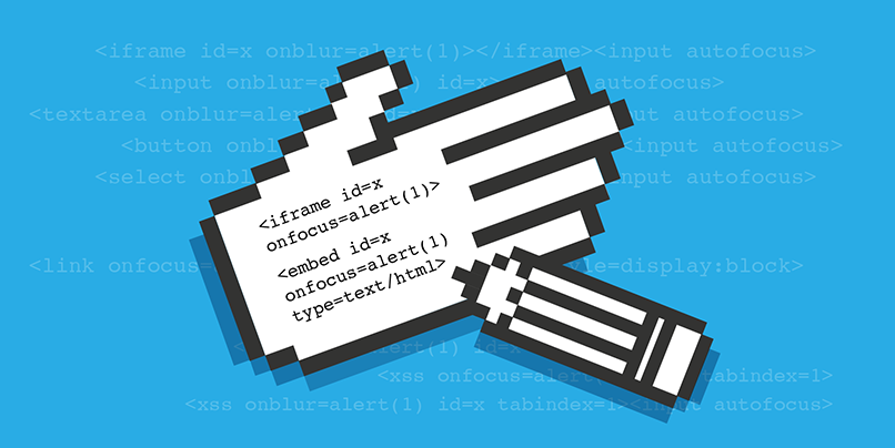 XSS cheatsheet graphic with code written on a hand