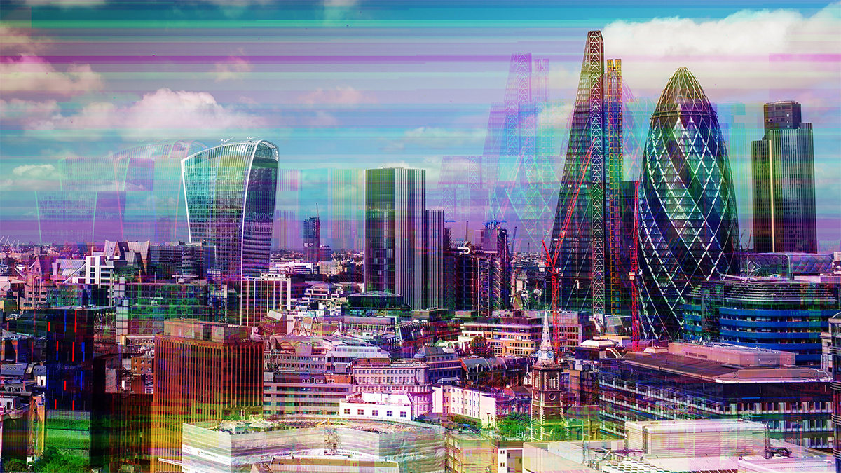 London cityscape with television glitch and distortion mapped over skyline