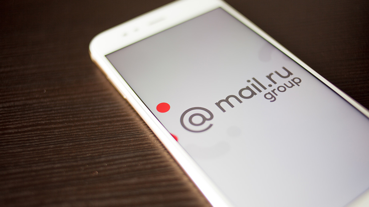Mail.ru Group logo on smartphone screen