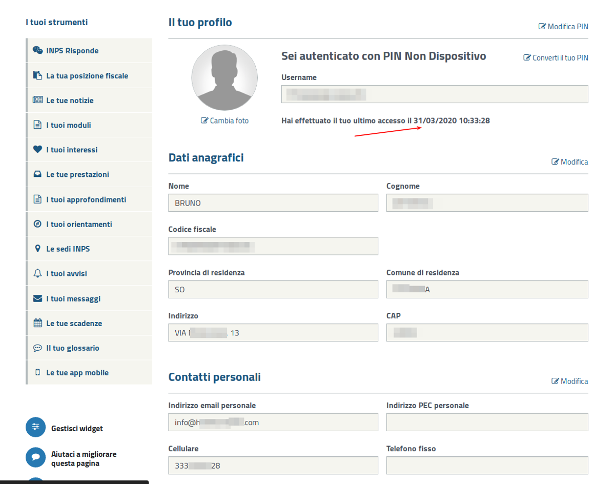 INPS screenshot, leaked user profiles