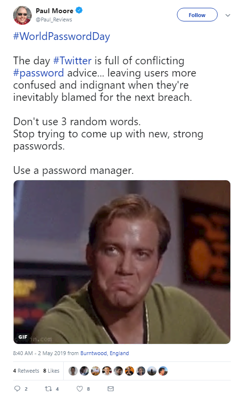The day Twitter is full of conflicting password advice