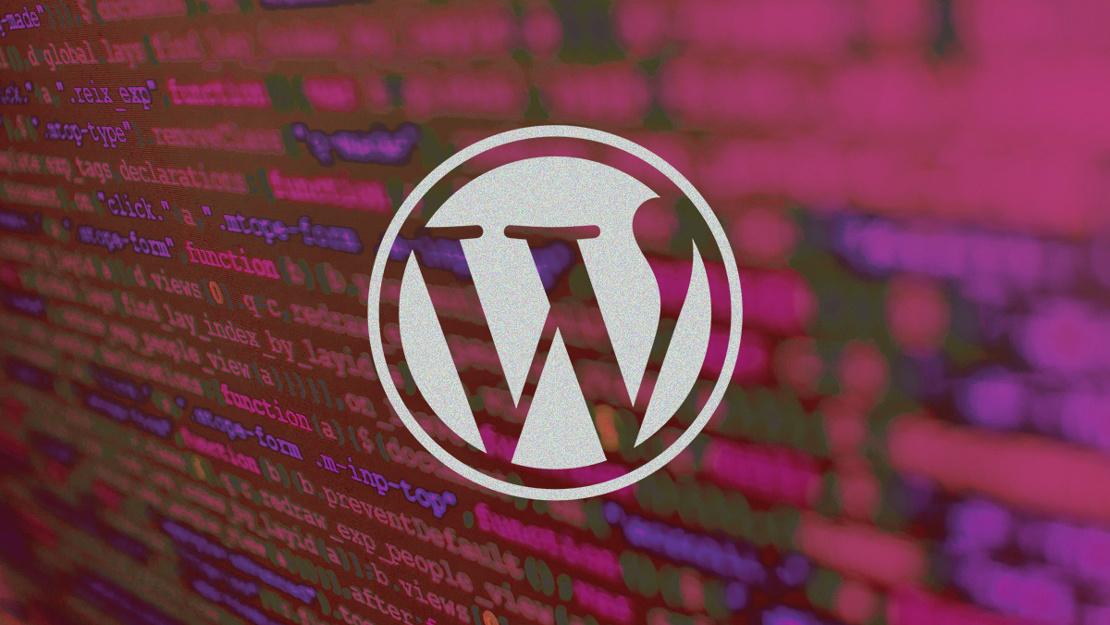 WordPress logo on pink background