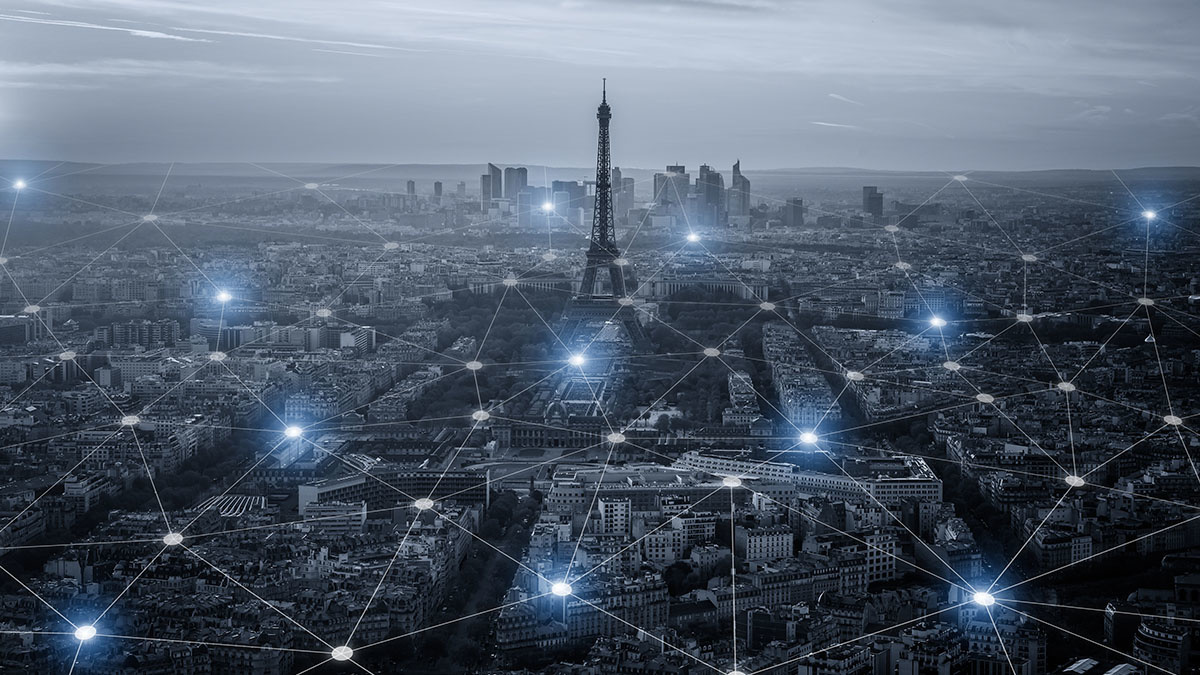 Digital cityscape, Paris, France, which topped the cybersecurity maturity index