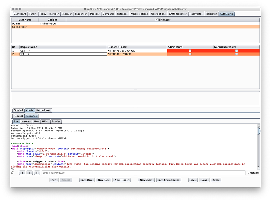 Screenshot of AuthMatrix being used in Burp Suite Professional