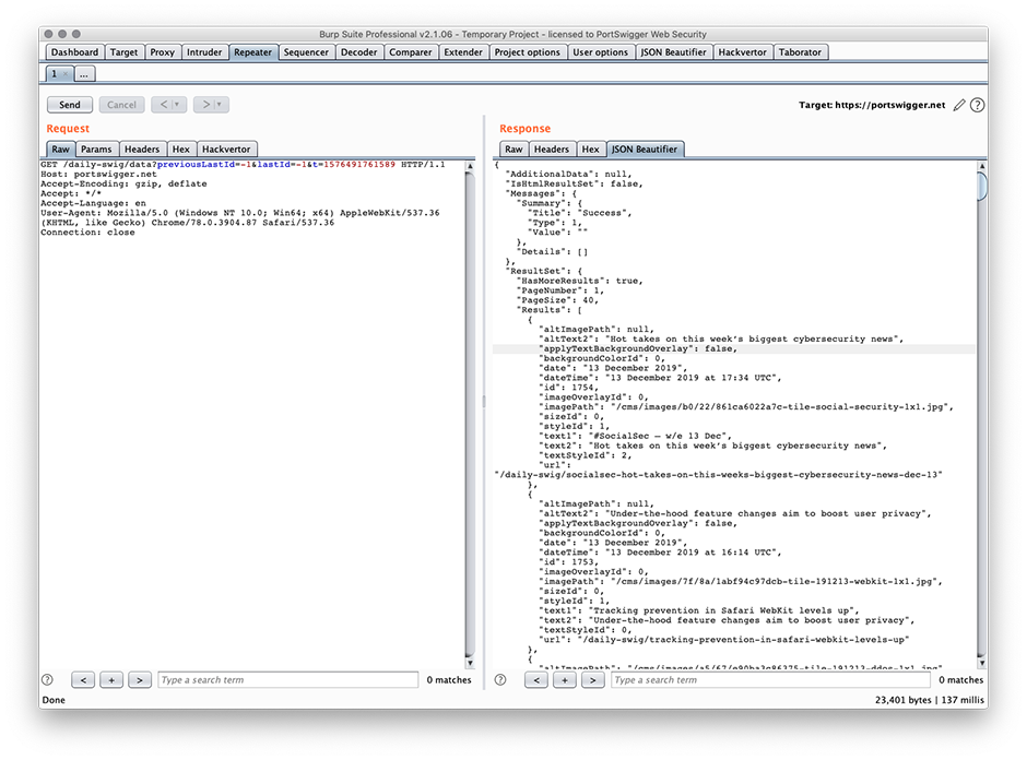 Screenshot of JSON Beautifier being used alongside other pentesting tools in Burp Suite Professional